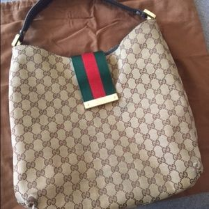 Authentic Gucci- Web large Hobo bag